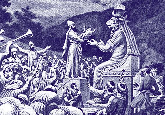Cartagineses sacrificando niños a Moloch-Baal